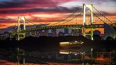 Sundown (Mathiaswayne) Tags: bridge sunset sky color japan sunrise matt tokyo nikon explosion adobe odaiba simonton msimonton msimontonimagerycom