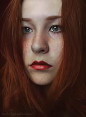 Portrait of Kid (Moonless_Nigth_and_Melancholy) Tags: portrait girl self ginger eyes lips pale redhead freckles melancholy emotions