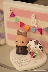 rabbit and bunny Wedding Cake Topper (charles fukuyama) Tags: wedding cute conejo clay custom lapin weddingceremony brideandgroom sculpted initials  weddingcaketopper handmadecaketopper animalscaketopper kikuike