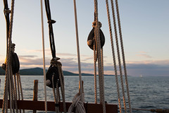 Golden Cords (mraogr) Tags: camden me maine rockport camdenme rockportme penebscotbay camdenharbor sunset sailboat sailing cruise dusk ropes rope pulley pulleys knots nautical cord gold pink schooner appledoreschooner camdenhills