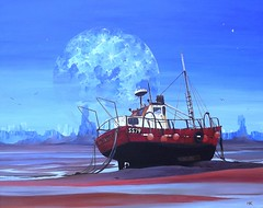 Trawler (Art by MarkAC) Tags: blue moon art st painting la boat fishing artwork acrylic surreal peaceful canvas serene tranquil trawler ives ss79 mouett