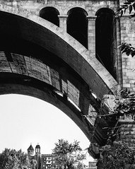 Under The Arc (davit.andreasyan) Tags: old city travel bridge trees light sky urban blackandwhite white black building church monochrome architecture europe armenia 500px ifttt