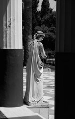 Refinement (ludovicapalumbo) Tags: woman divinity individual loneliness dress column blackandwhite shadow light old art architecture sculpture greece corf contrast human silence