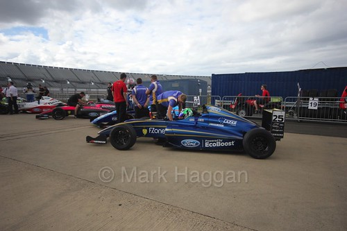 Alexandra Marinescu in the British Formula 4 Assembly Area at Rockingham, August 2016