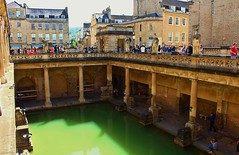 The Roman Baths, Bath (Eddie Crutchley) Tags: europe england bath historicbuilding roman outdoor romanbaths terrace statues sculpture art architecture sunlight yabbadabbadoo