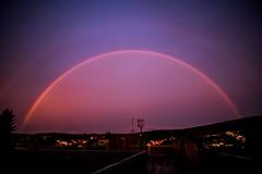 Rainbow in the Dark (Saarblitz) Tags: rainbowinthedark regenbogen dunkelheit dmmerung abend farben regen sonne dach himmel naturschauspiel gebude architektur outdoor