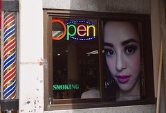 Open Smoking (Bangkok) (jcbkk1956) Tags: salon hairdressers bangkok thailand nikon nikkor 1855mmf3556 street poster sign girl thai open smoking window man sukhumvitroad thonglo beauty worldtrekker