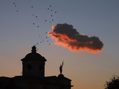 [Untitled] (grant0825) Tags: sunset pinnacle statue city birds clouds light architecture