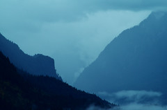 Dramatic Valley (Kristian Francke) Tags: landscape outdoor fog valley mountain mountains cliff walls sides valleysides pentax blue green dramatic weather rain bc canada british columbia metro vancouver tree trees forest plant plants