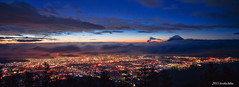 Amariyama sunrise (koshichiba) Tags: panorama fujisan mtfuji fujiyama amariyama sunrise morning light city peek nature long exposure nd fileter landscape nightscape nirasakishi japan dawn maoutainside yamanashi hill nightview