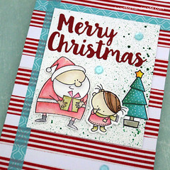 Merry Christmas, card (Heart for Handmade) Tags: myfavoritethings christmas handmadecard washi watercolor sequins promarkers coloredcard coloring holidaycard