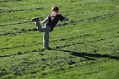 Kick (stickyhipp) Tags: school boy grass kids cut lawn sunny bayarea belmontca