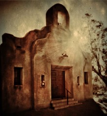 Capilla San Pedro, Old Fort Lowell neighborhood, Tucson (allophile) Tags: monochrome architecture tucson adobe tintype iphoneart arizonapassages texturesquared iphoneography perspectivecorrect hipstamatic