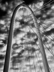 Margaret Hunt Hill Bridge-3 (BW) (jamesclinich) Tags: bridge monochrome clouds blackwhite dallas skies texas tx bridges clarity olympus omd topaz adjust em10 denoise bweffects