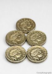 5 x £1 coins (xstc) Tags: macro closeup nikon coins currency £1 d5100 nikon85mmmacro