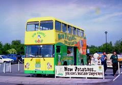 Spudbus 1 - Martlesham Tesco June 2000 (The original SimonB) Tags: film buses june suffolk 2000 transport scanned