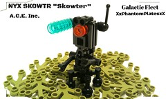 (GF) NYX SK0WTR (Sci-Castle) Tags: orange black leaves robot lego probe flight scifi custom droid mech olivegreen moc