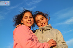 Happy with a friend (Negba - ) Tags: girls nature boys children israel outdoor teens bluesky hike association