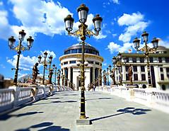 Perspective (Fran Caparros) Tags: new bridge blue light sky sun art sol architecture puente lights arquitectura europa europe macedonia cielo artes nueva yugoslavia celeste balkan skopje fyrom balcanes makedonija