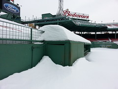 A snow-filled Fenway Park - February 21, 2015 #16 (misconmike) Tags: park roof winter red snow green ford sign boston wall minolta baseball 21 sox diamond deck covered seats konica 16 fenway february bleacher budweiser infield scoreboard stands bullpen outfield 2015 bizhub