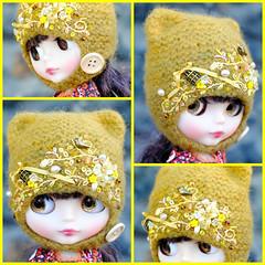 The Folklore Kitty Helmet: Goldfinch (Euro_Trash) Tags: bird net yellow goldfinch folklore website com ochre eurotrash kittyhelmet neoblythe woodenbutton handmadeforblythe