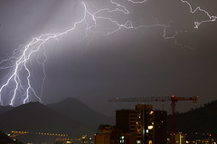 Rayos (Sergio_Gutierrez) Tags: chile city santiago light sky storm night clouds landscape noche horizon cielo rayo thunder vegetarian6