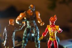 Gordon and Firestorm vs Bane (misterperturbed) Tags: dccomics bane firestorm commissionergordon dcdirect dccollectibles playartskai