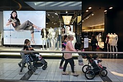 Sry15c13 Stroller Family Fashion at Guildford Centre (CanadaGood) Tags: pink people white canada black color colour fashion sign mall shopping person grey bc stroller britishcolumbia surrey guildford 2015 canadagood thisdecade