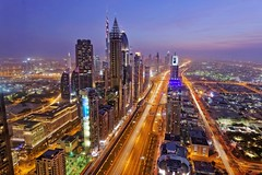 Dubai Sheikh Zayed Road (NiJ0) Tags: road blue night dubai view blu united uae bleu emirates zayed arab hour nuit emirate sheikh unis hur heure bleue futur   blaue    duba  arabes  blueu futural mirats