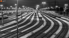 Steel (fotomanufaktur-hertzsch.de) Tags: city railroad bw panorama geometric metal train scenery industrial power nightshot traffic pov steel hamburg cargo container nightlight manmade nightlife heavy
