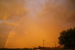 where the rainbow ends (LaLa83) Tags: sunset ohio summer storm nature weather clouds outdoors golden evening rainbow backyard dusk sony july alpha 2016 a230 fairfieldcounty ruralohio beautifulohio stoutsville ohiofoothills