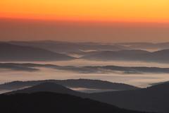 Fog in the valleys (pawianxc) Tags: sunrise fog mountains clouds poland polska peaks szczyty valleys bieszczady mga wit