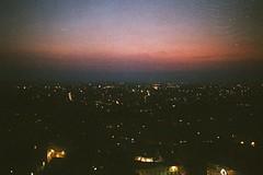 Above everything. (Leonor F) Tags: city night nightime dusk sunset colour melancholy lights analog analogue lomography film filmphotography yashica filmisnotdead nantes france darkness travel wanderlust cinematic grain