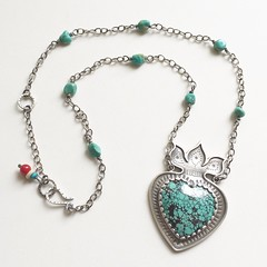 Turquoise Milagros Flaming Heart. (jujubysarah) Tags: milagros flaming heart stamped sterling silver etsymetal team sfetsy monthly challenge turquoise handmade jewelry