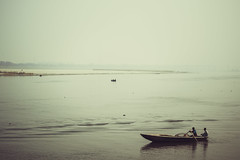 Nothingness (arkamitra lahiricolour) Tags: travel sky india water river boat horizon negativespace rowing void hindu kolkata ganges westbengal