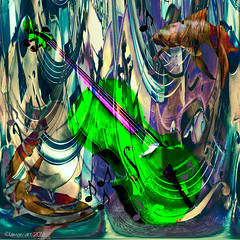 Water Music (Lemon~art) Tags: music fish green texture water square colours underwater bright manipulation violin cello