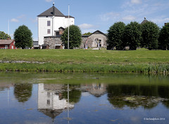 Historic Castle founded in the 12th century (Mwap38) Tags: old travel trees roof summer vacation sky house reflection building travelling green castle water grass clouds outdoors lumix pond hiking sightseeing historic panasonic mediaeval