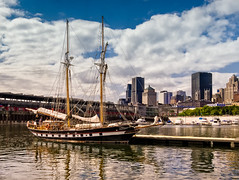 hiding in plain sight (JimfromCanada) Tags: ship boat sail dock port harbor harbour montreal oldport sunny city skyline brigantine tallship sl2 stlawrenceii mast rigging