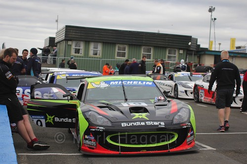 Tom Wrigley in the Ginetta GT4 Supercup Assembly Area at the BTCC Knockhill Weekend 2016