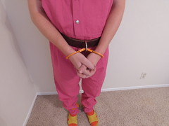 Pink Inmate Jumpsuit (boblaly) Tags: pink inmate jumpsuit cuffs cuffed handcuffs handcuffed prison prisoner jail detention uniform chain belly padlock belt shackles shackled