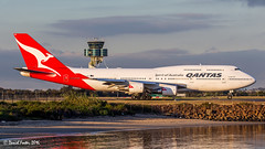VH-OEE_YSSY_210716 (Daniel Foster - Aviation Photographer) Tags: sunset tower beach water contrast flying aviation transport airline boeing syd qantas takeoff runway 747 airliner 747400 sydey 744 yssy