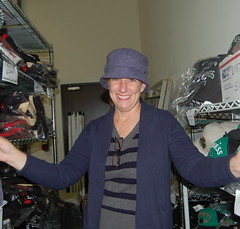 Janice modeling the Titanic Hat