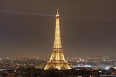 View of the Eiffel Tower from the Arc de Triomphe de l'toile in Paris (marantzer) Tags: paris france digital nikon europe ledefrance eiffeltower arc eu latoureiffel champdemars nikkor dslr europeanunion rivegauche 70200mm nikkorlens travelph