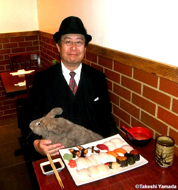 Dr. Takeshi Yamada and Seara (sea rabbit) at the Sake Japanese restaurant in Brooklyn, New York on October 8, 2014. It is one of their favorite restaurants in New York City. Sushi. 20141008 070=C2 area contrast enhancement