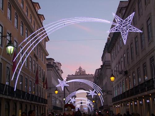 Christmas lights at sunset, Lisbon