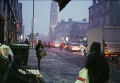Glasgow Kelvinbridge Snow January 16th 2015 - Contax G2 (Pgcc) Tags: road street winter snow film weather speed 35mm lens scotland scans slow traffic glasgow transport january rangefinder shutter handheld manual negatives 45mm kelvinbridge carlzeiss contaxg2 2015 160thsec