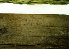 Inscription, Knoles Log House — Chillicothe, Ohio (Pythaglio) Tags: county ohio house film pen early photo ross log name shell logs william carving historic single scanned moved chillicothe residence samuel exposed inscription dwelling relocated hewn hewed knoles ca1990 ca1820 makdonnal