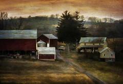 Dusk (Terry Pellmar) Tags: sunset texture field farmhouse barn twilight sundown dusk digitalart digitalpainting platinumheartaward