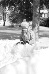 Snow Days (joepeloquin1) Tags: blackandwhite snow girl canon outside outdoors 50mm bright bokeh naturallight snowfall blizzard canon50mm canonlens