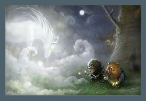 Ежик в тумане охотиться на привидение